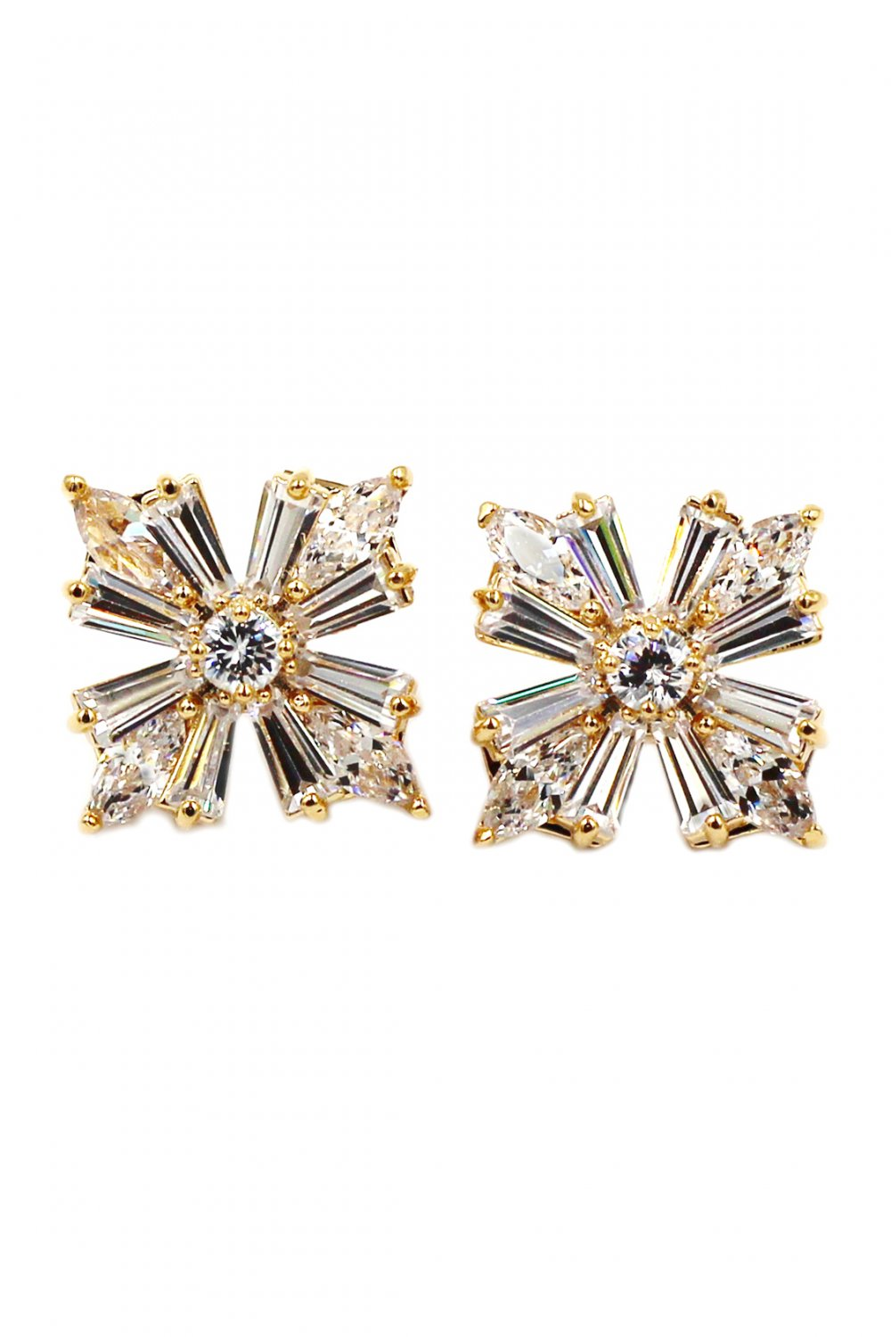 Bright crystal gold earrings
