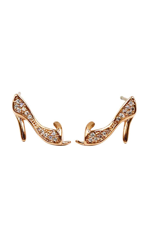 Mini heeled shoes crystal rose gold earrings