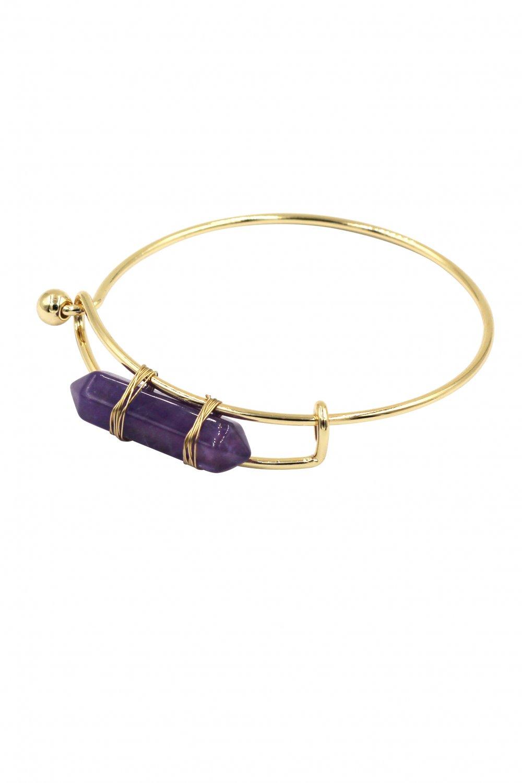 Fashion purple crystal golden bracelet