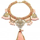Colorful tassel national crystal and beads pink necklace