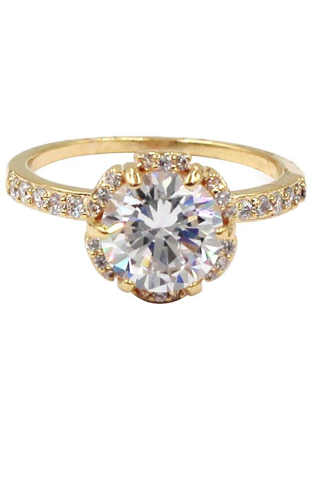 Fashion daisy crystal gold ring