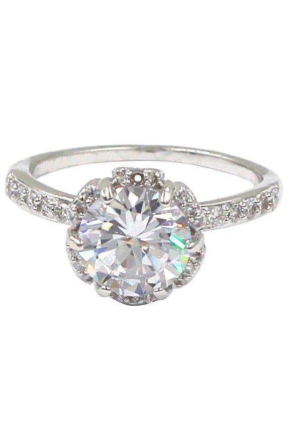 Fashion daisy crystal silver ring