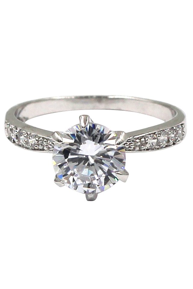 Classic six-claw crystal silver ring
