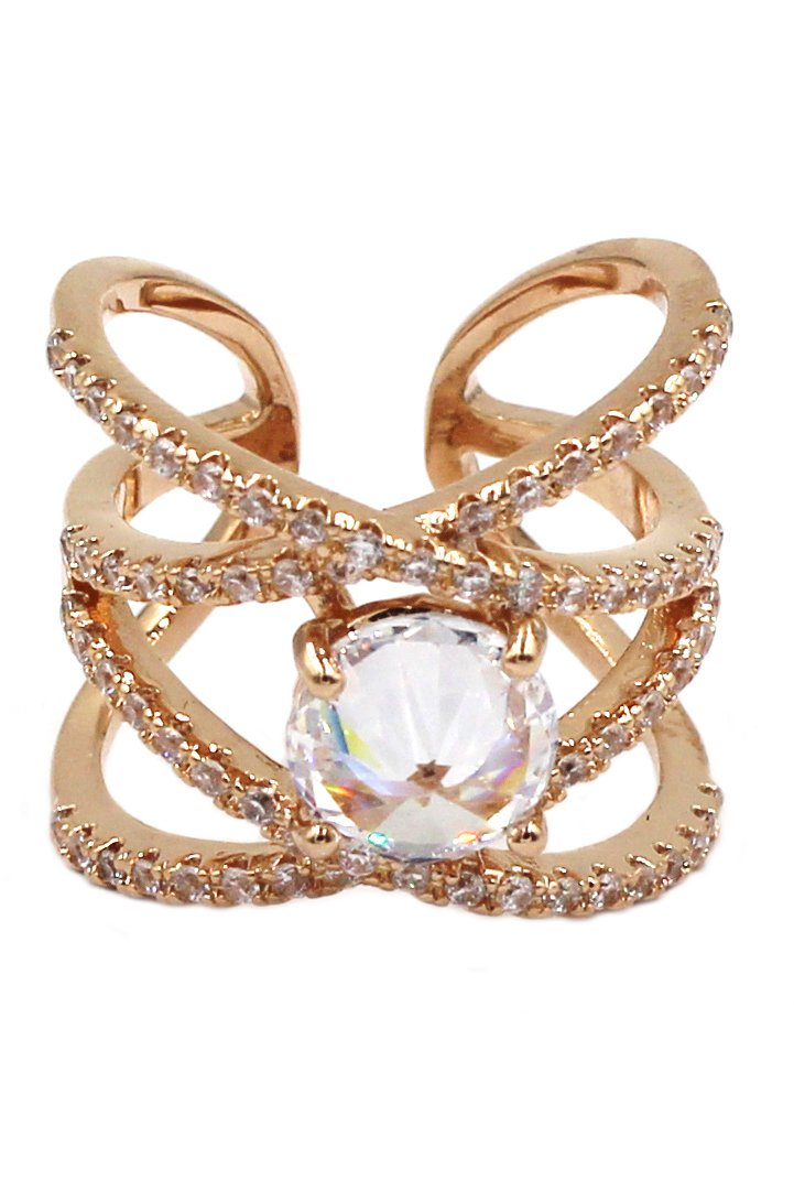 Fashion crystal opening rose gold ring