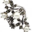 Fashion flower crystal pearl silver ring