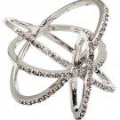 Fashion tracks small crystal silver ring
