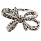 Fashion full little crystal bow silver ring