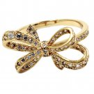 Fashion full little crystal bow gold ring