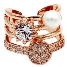 Fashion crystal pearl rose gold open ring