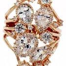 Fashion crystal flower rose gold ring