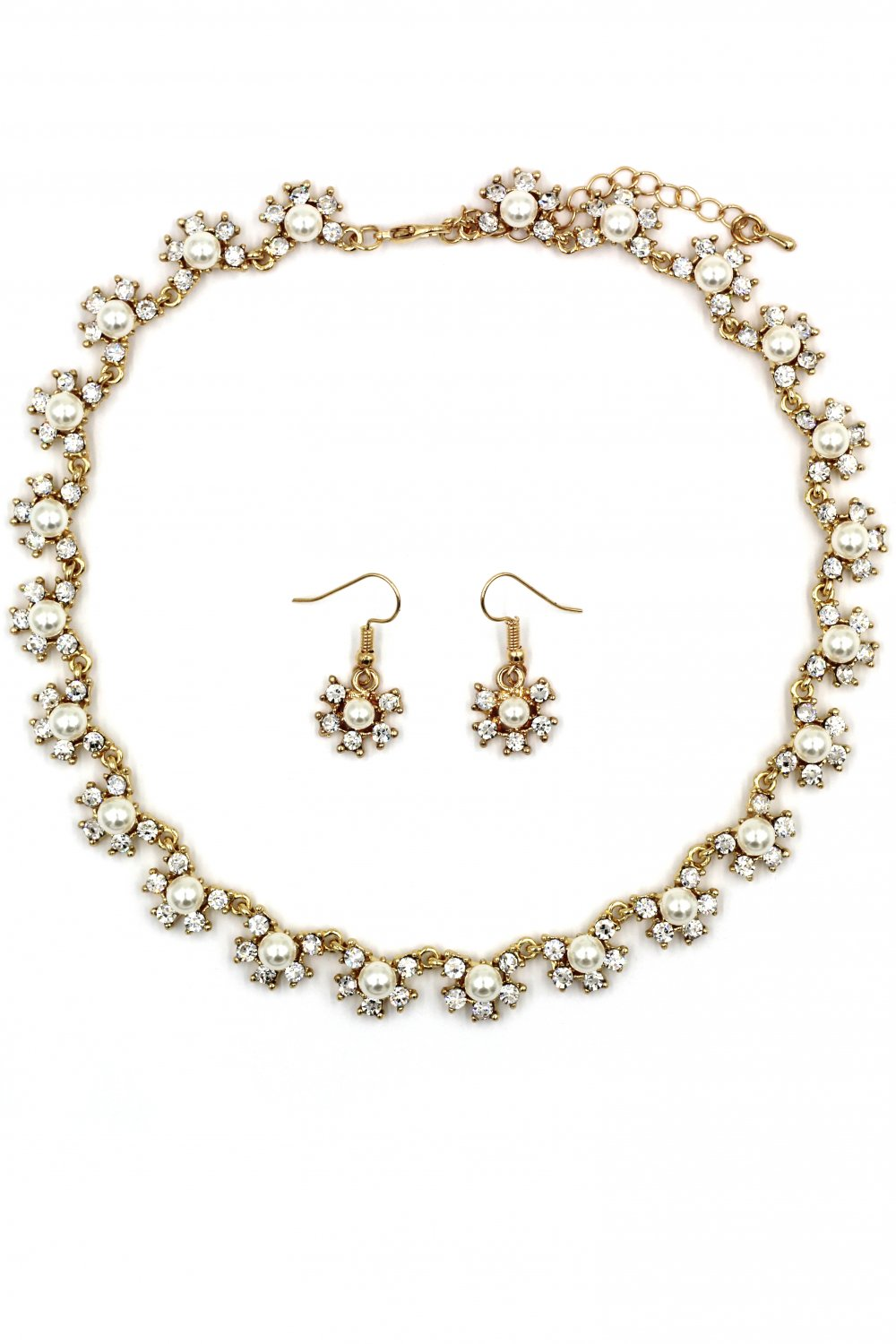 Classic crystal and pearl necklace earrings gold set