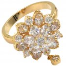 Bonzer crystal flower small pendant gold ring