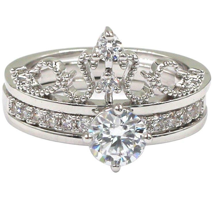 Noble crystal corwn silver ring