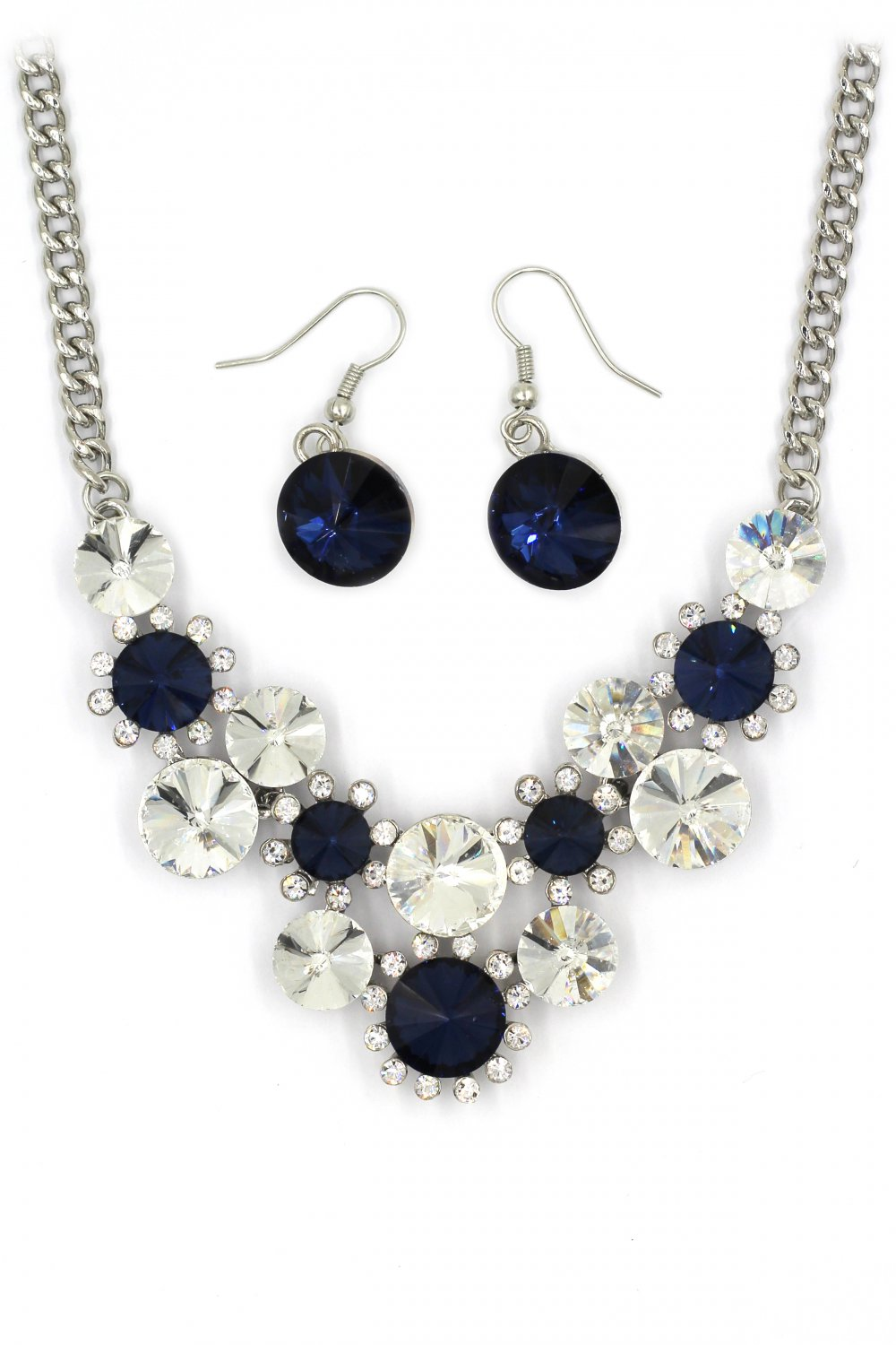 Fashion circle blue crystal necklace earrings silver sets