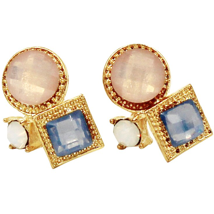 Fashion golden rim crystal pink ball earrings