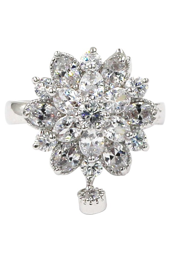 Bonzer crystal flower small pendant silver ring