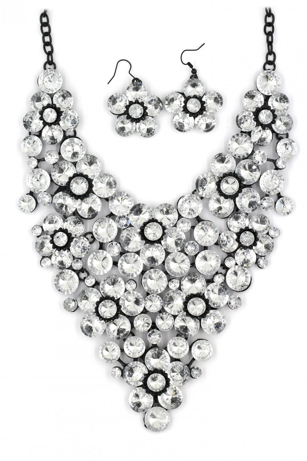 Crystal white flowers necklace sets