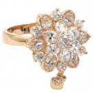 Bonzer crystal flower small pendant rose gold ring
