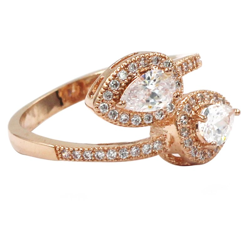 Dislocation relative crystal rose gold ring