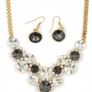 Fashion circle gray crystal golden necklace earrings sets