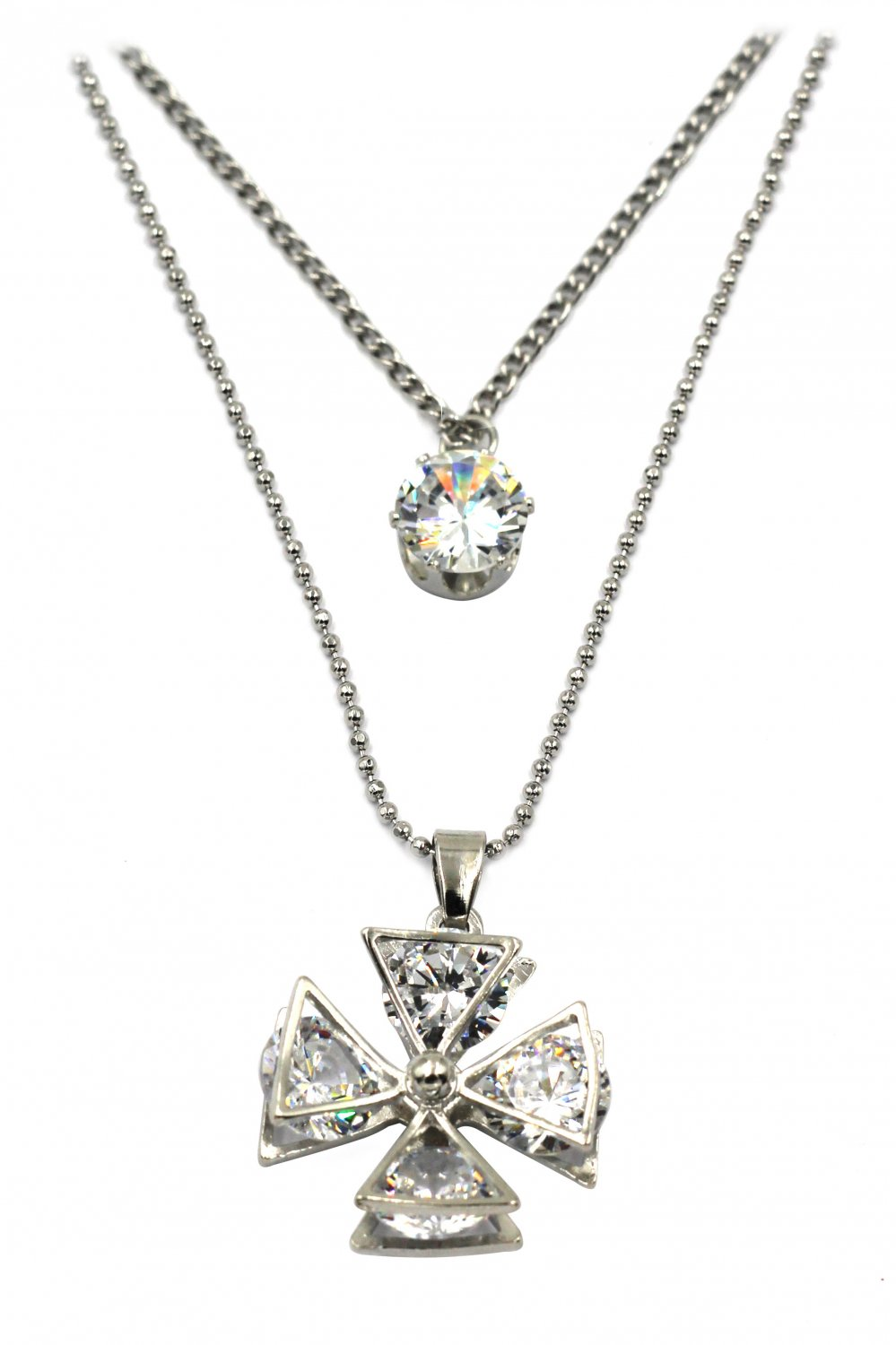 Duplexes crystal windmill silver necklace