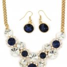 Fashion circle blue crystal golden necklace earrings sets