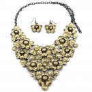 Yellow Crystal flowers necklace sets