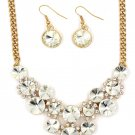 Fashion circle white crystal golden necklace earrings sets