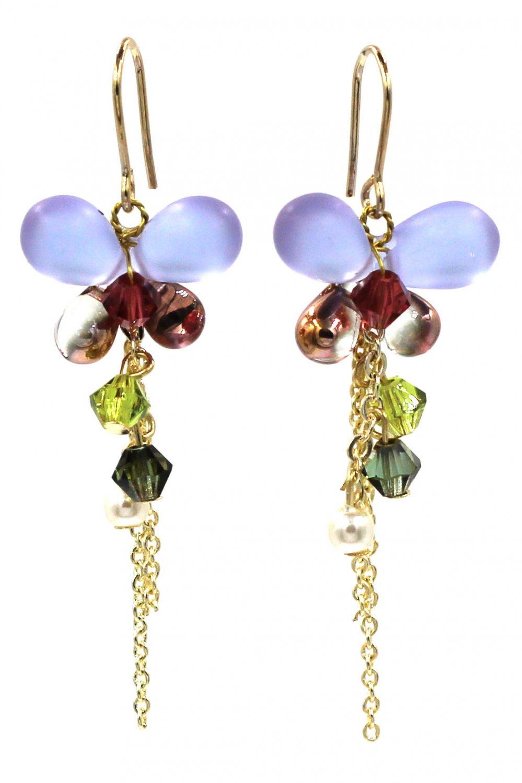 Lovely blue butterfly pendant bead earrings
