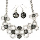 Fashion circle flower crystal  gray silver necklace earrings sets