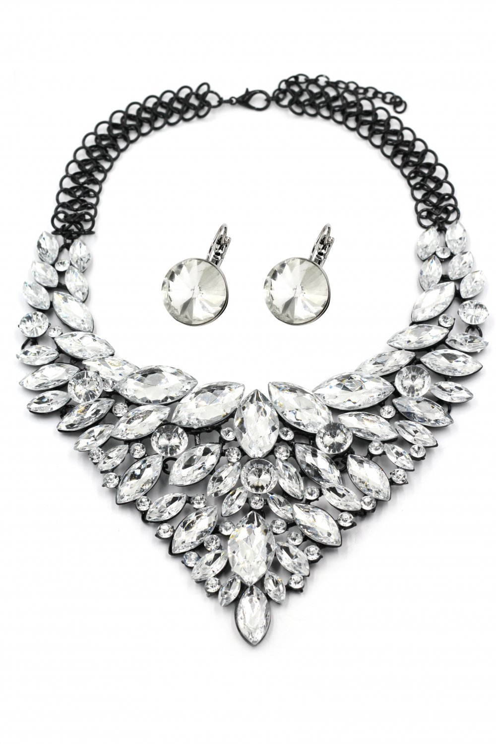 Fashion transparent crystal necklace earrings set