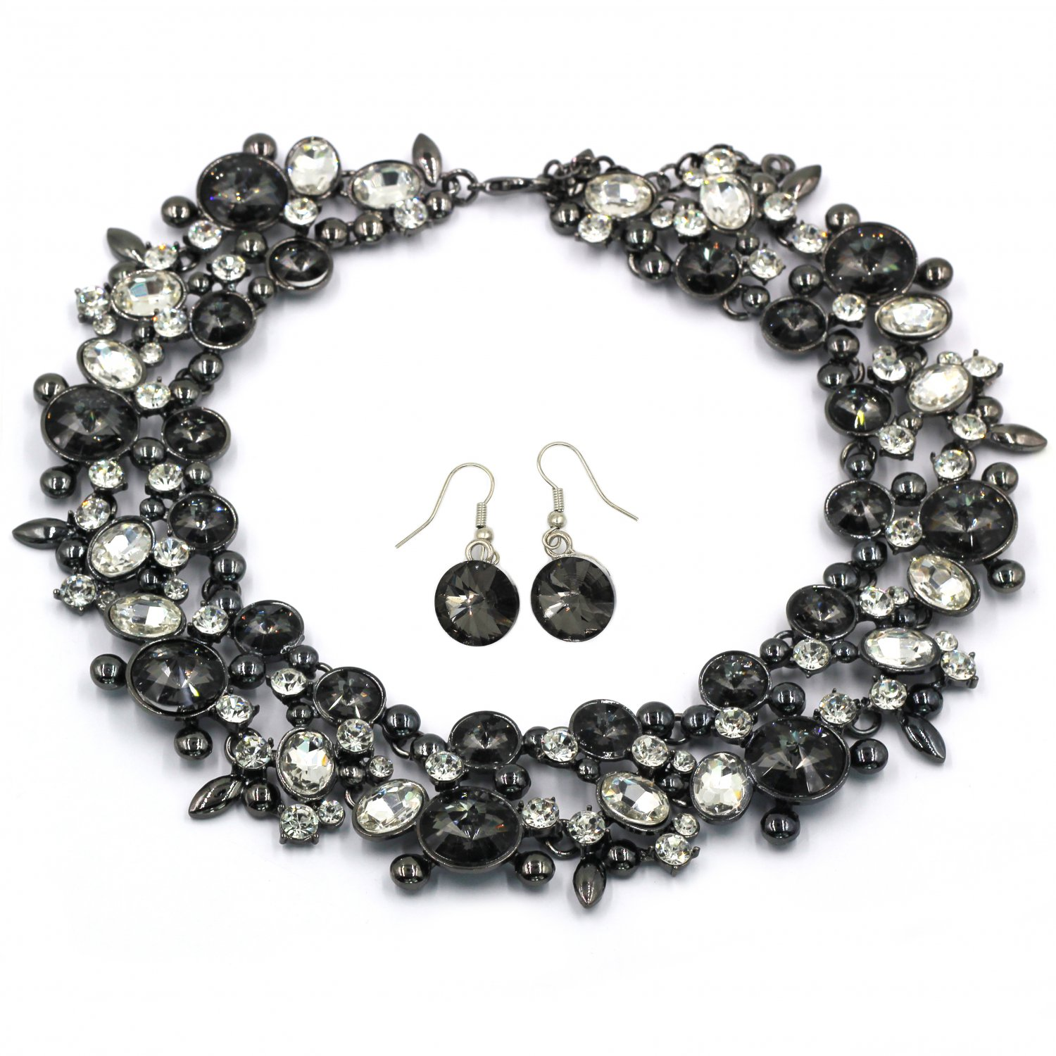 Elegant full black crystal necklace earrings set