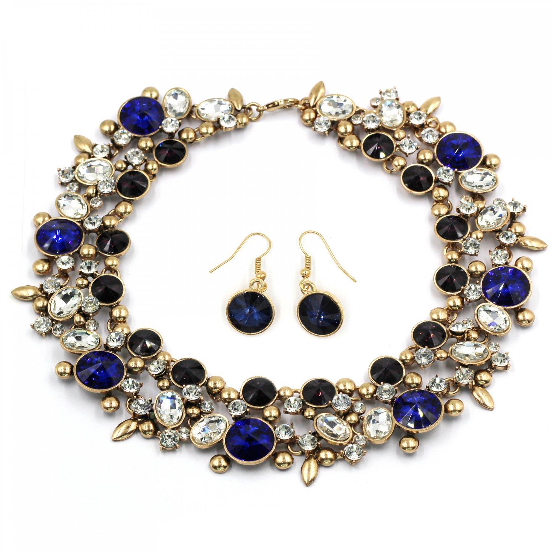 Elegant full blue crystal necklace earrings golden set