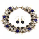 Elegant full blue crystal necklace earrings golden set