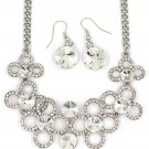 Fashion circle flower white crystal necklace earrings silver sets