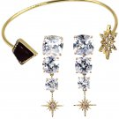 Fashion inlaid purple crystal star bracelet earrings set
