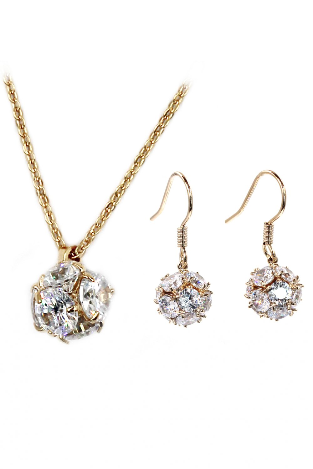 Mini crystal ball necklace earrings gold set