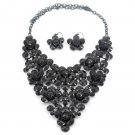Black crystal flowers necklace earrings sets