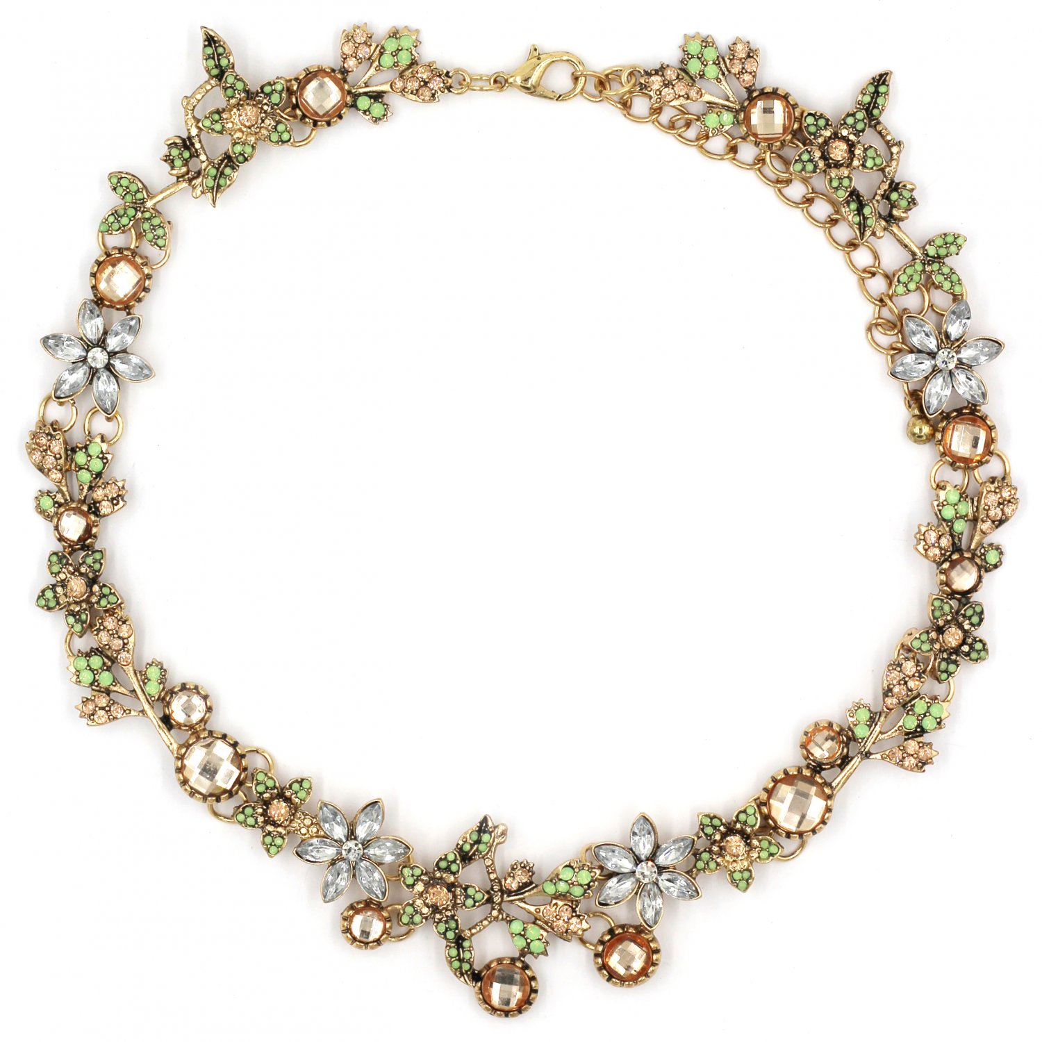 Pretty wreath crystal gold necklace