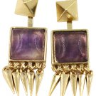 Square purple crystal golden earrings