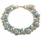 Fashion beautiful multicolor sky blue crystal necklace