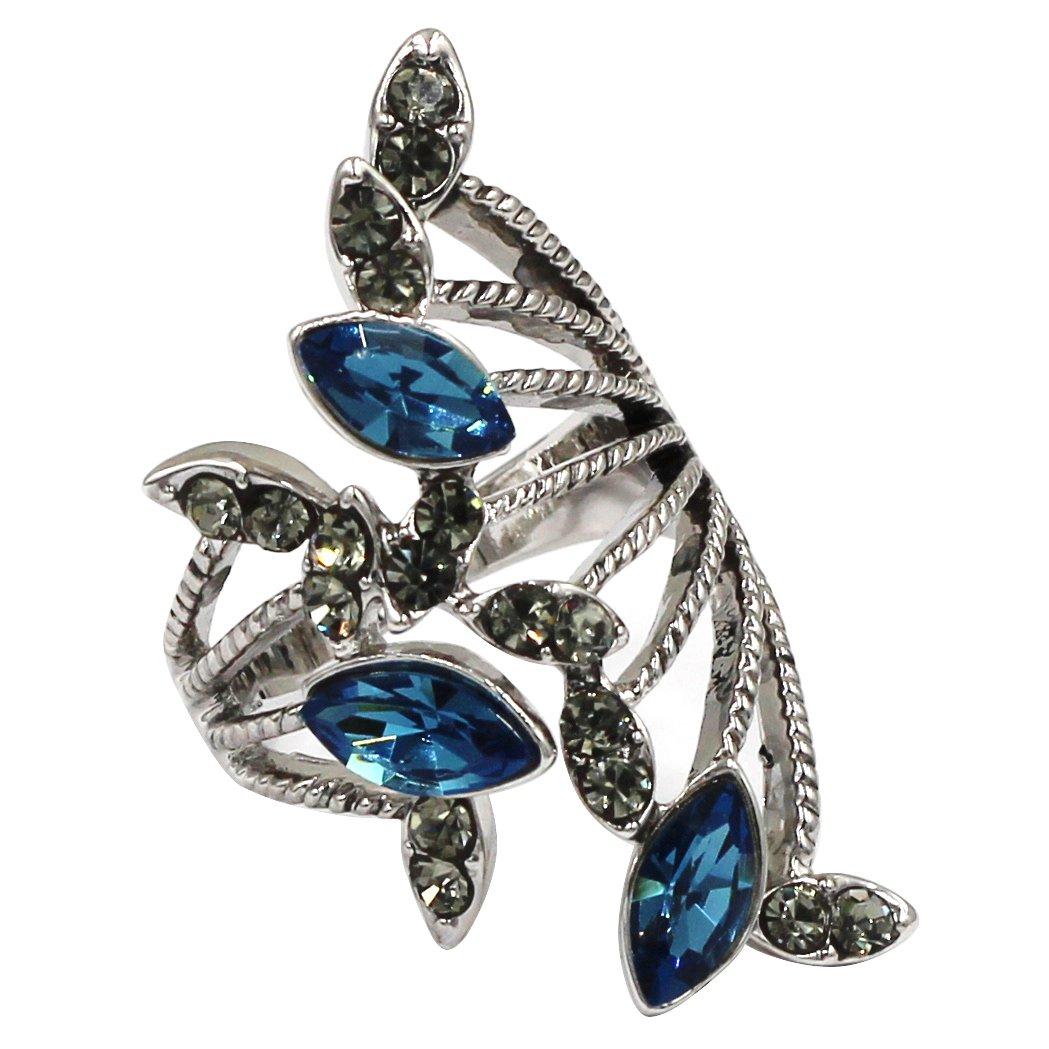 Elegant sky blue crystal silver ring