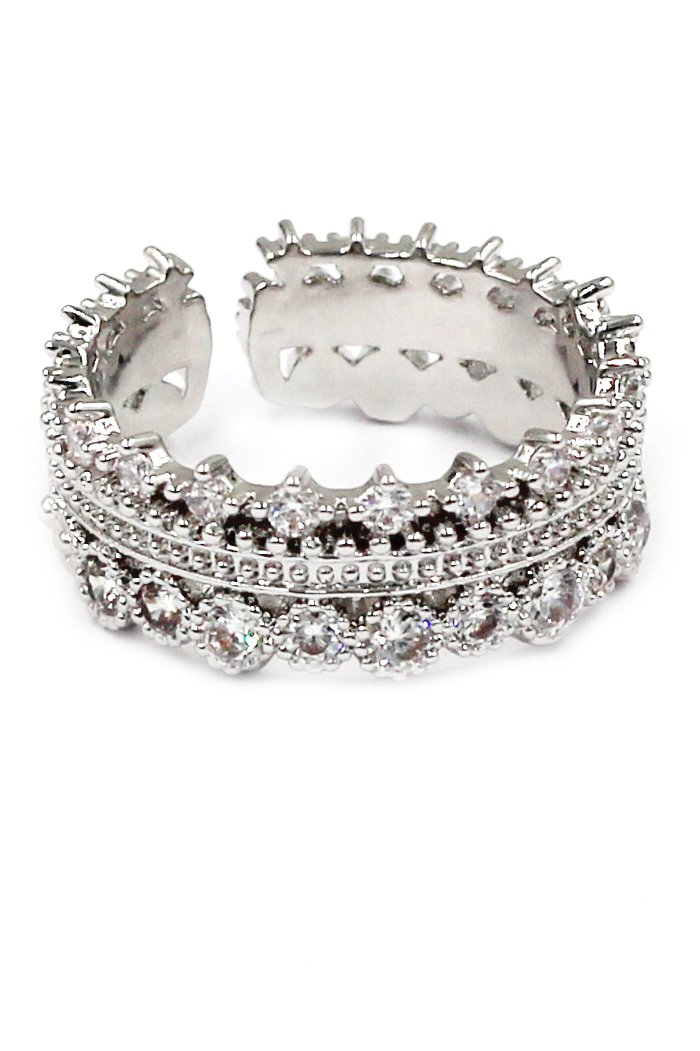 Fashion crystal opening silver ring
