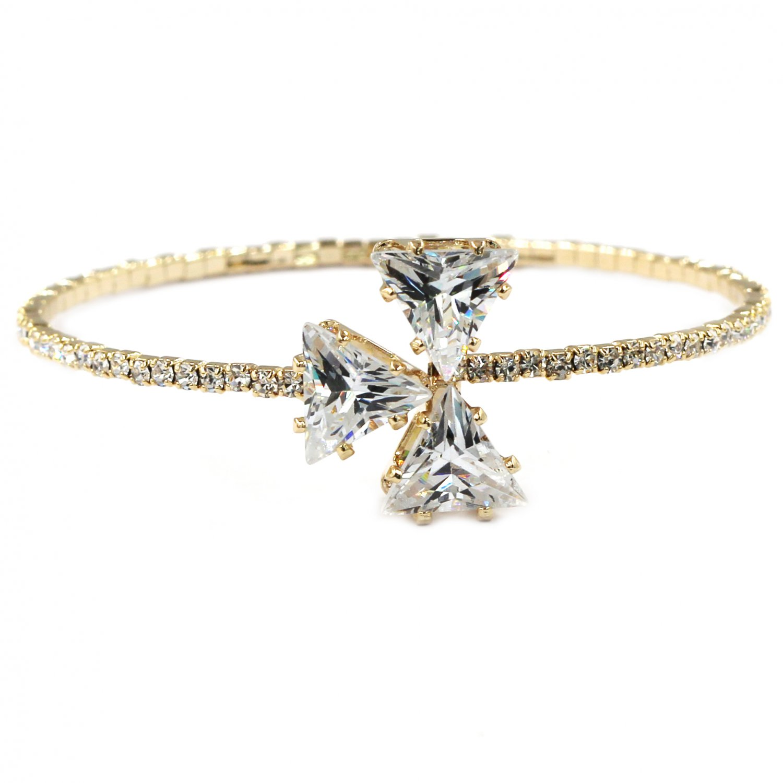 Shining triangle crystal gold bracelet