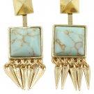Square green choi shek golden earrings
