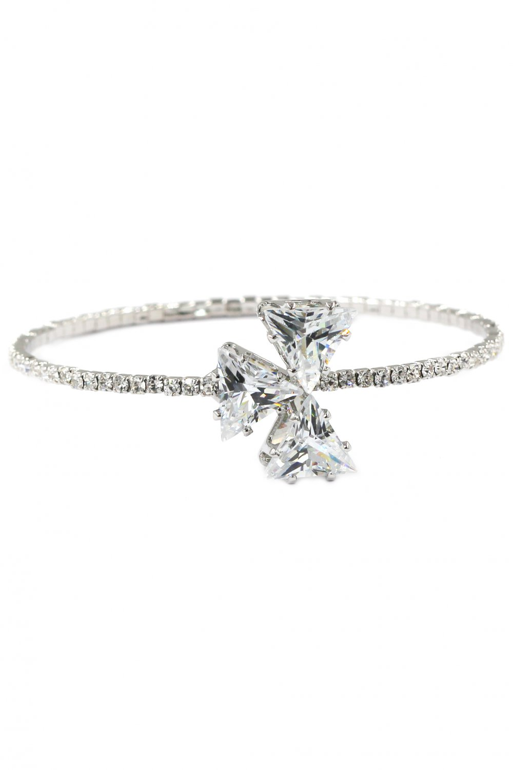 Shining triangle crystal silver bracelet