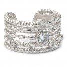 Simple multiturn silver crystal ring