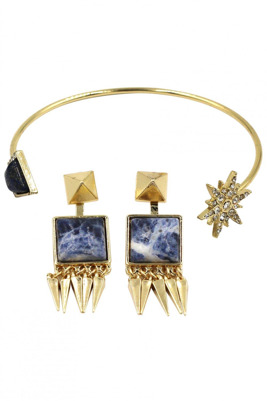 Fashion inlaid blue golden bracelet set
