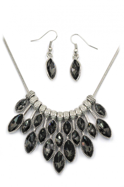 Fashion black crystal necklace earrings set