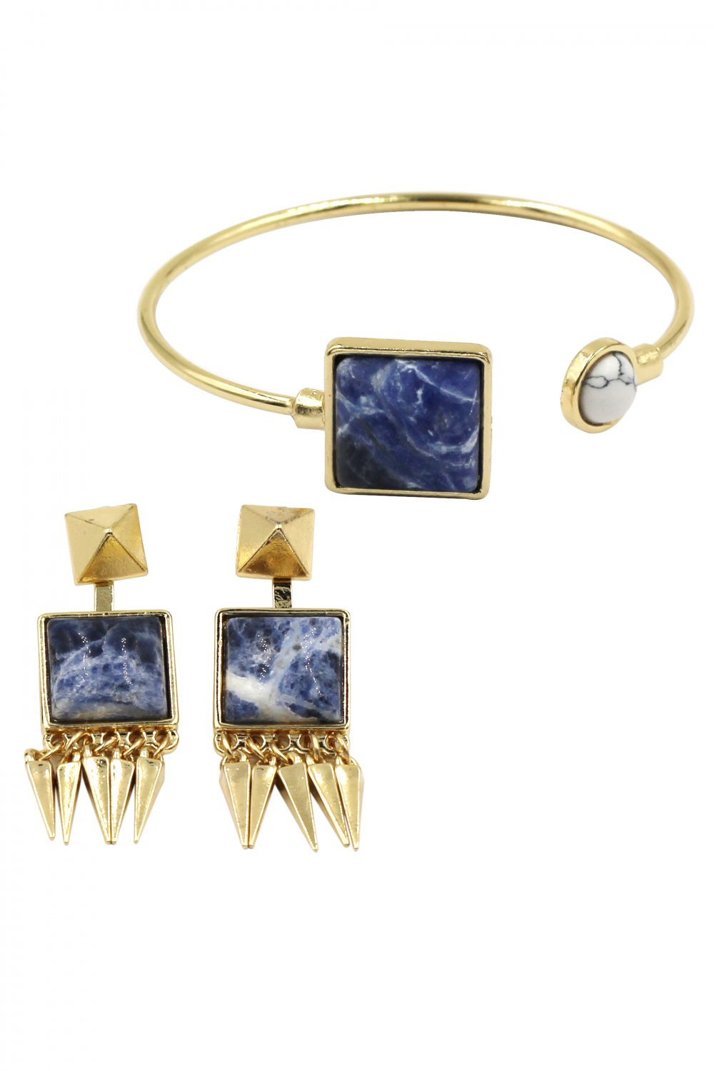 Fashion blue square white round golden bracelet earrings set